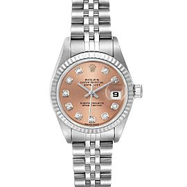 Rolex Datejust Steel White Gold Salmon Diamond Dial Ladies Watch 179174 Box