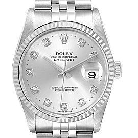 Rolex Datejust Steel White Gold Silver Diamond Dial Mens Watch 16234 Box