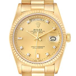 Rolex President Day-Date 36mm Yellow Gold Diamond Mens Watch 18238 Box Papers