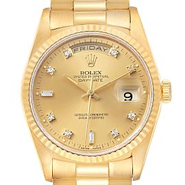 Rolex President Day-Date 36mm Yellow Gold Diamond Mens Watch 18238