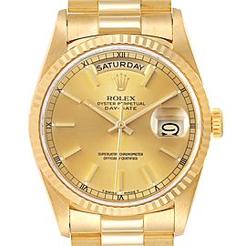 Rolex President Day-Date Yellow Gold Champagne Dial Mens Watch 18238 Box