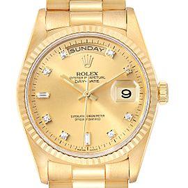 Rolex President Day-Date 36mm Yellow Gold Diamond Mens Watch 18238 Box