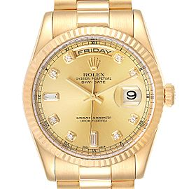 Rolex President Day Date Yellow Gold Diamond Mens Watch 118238 Box