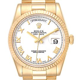 Rolex President Day Date 36 Yellow Gold White Dial Mens Watch 118238 Box Papers