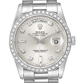 Rolex President Day-Date Silver Dial Platinum Diamond Mens Watch 18346 Box