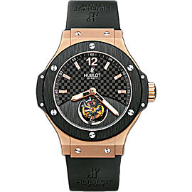 Hublot Tourbillon Solo Big Bang 18K Rose Gold & Black Rubber with Black Carbon Fiber Dial 44mm Mens Watch
