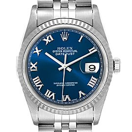 Rolex Datejust 36 Steel White Gold Blue Dial Mens Watch 16234 Box