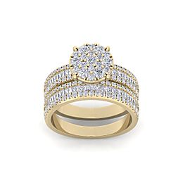Bridal set in 14K gold with white diamonds of 1.48 ct in weight