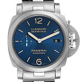Panerai Luminor Marina 1950 Blue Dial Steel Watch PAM01028 Box Papers