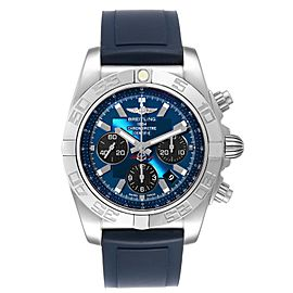 Breitling Chronomat 01 Blue Dial Steel Mens Watch AB0110 Box Papers