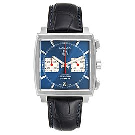 Tag Heuer Monaco Calibre 12 Blue Dial Black Strap Mens Watch CAW2111