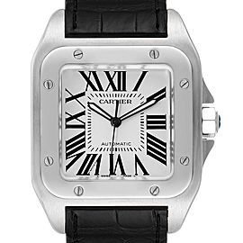 Cartier Santos 100 Black Strap Steel Mens Watch