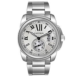 Calibre De Cartier Silver Dial Steel Automatic Mens Watch W7100015 Box