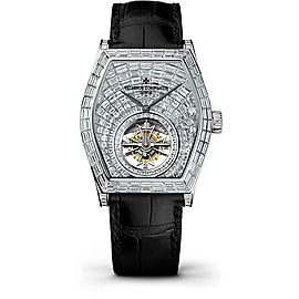 Vacheron Constantin Malte 30630/000G-9899 18K White Gold & Leather with Diamond Pave Dial 38mm Mens Watch