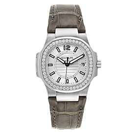 Patek Philippe Nautilus White Gold Diamond Grey Strap Ladies Watch 7010