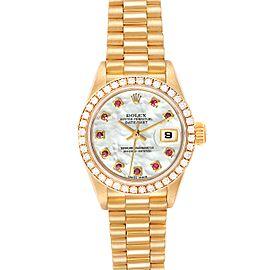 Rolex President Ladies Yellow Gold MOP Rubies Diamond Watch 79138 Box