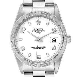 Rolex Date White Dial Engine Turned Bezel Steel Mens Watch 15210 Box