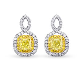 Leibish 18K White and Yellow Gold with 1.83ctw Diamond Halo Earrings