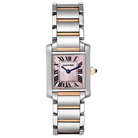 Cartier Tank Francaise Steel Rose Gold Mother of Pearl Watch W51027Q4 Box