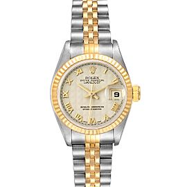 Rolex Datejust Steel Yellow Gold Ivory Pyramid Dial Ladies Watch 69173 Box Papers