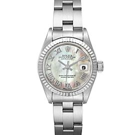 Rolex Datejust Steel White Gold MOP Dial Ladies Watch 69174 Papers