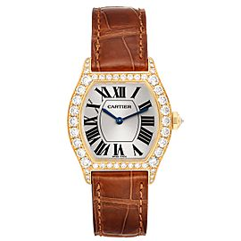 Cartier Tortue Yellow Gold Diamond Brown Strap Ladies Watch