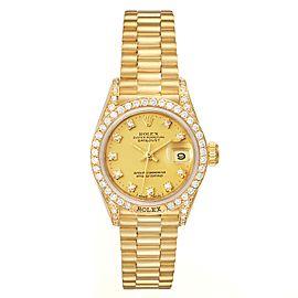 Rolex President Datejust 26mm Yellow Gold Diamond Ladies Watch 69158