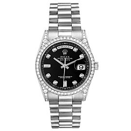 Rolex President Day-Date 18k White Gold Diamond Mens Watch 118339