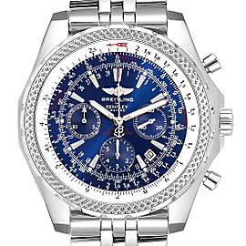 Breitling Bentley Motors Blue Dial Chronograph Steel Mens Watch