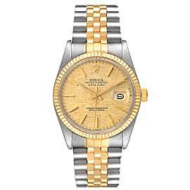 Rolex Datejust 36 Steel Yellow Gold Vintage Linen Dial Mens Watch 16013