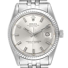 Rolex Datejust Steel White Gold Silver Dial Vintage Mens Watch 1601