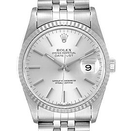 Rolex Datejust Silver Dial Fluted Bezel Steel White Gold Mens Watch 16234 Box