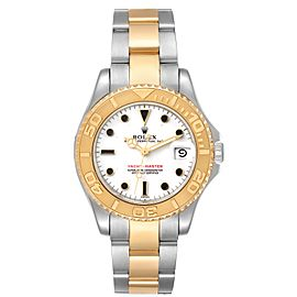 Rolex Yachtmaster 35 Midsize White Dial Steel Yellow Gold Watch 68623
