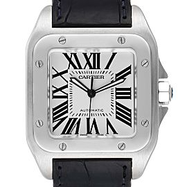 Cartier Santos 100 Silver Dial Black Strap Steel Mens Watch W20073X8