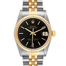 Rolex Datejust Midsize Steel Yellow Gold Black Dial Ladies Watch 68273