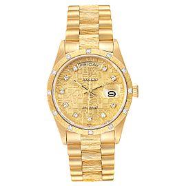 Rolex President Day Date Yellow Gold Diamond Mens Watch 18108