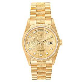 Rolex President Day-Date Yellow Gold Bark Diamond Dial Mens Watch 18248