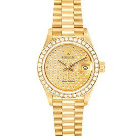 Rolex President Datejust Yellow Gold Pave Diamond Ladies Watch 69138
