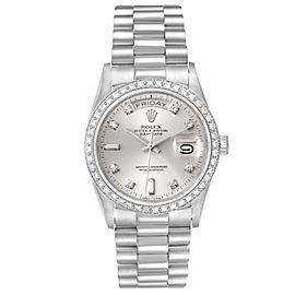 Rolex President Day-Date Silver Dial Platinum Diamond Mens Watch 18046