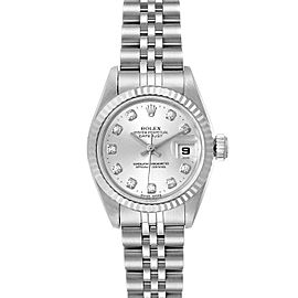 Rolex Datejust Steel White Gold Silver Diamond Dial Ladies Watch 69174 Papers