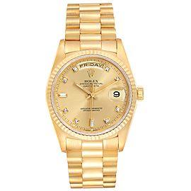 Rolex President Day-Date 36mm Yellow Gold Diamond Mens Watch 18238