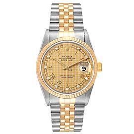 Rolex Datejust Steel Yellow Gold HoundsTooth Diamond Mens Watch 16233