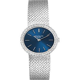 Patek Philippe Blue Dial White Gold Diamond Coctail Ladies Watch 4175