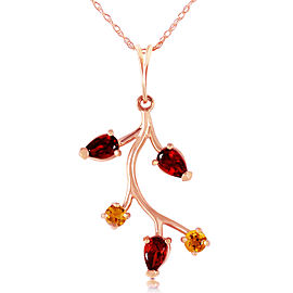 14K Solid Rose Gold Necklace with Garnets & Citrines