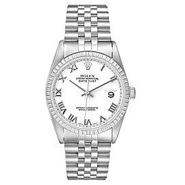 Rolex Datejust 36 White Roman Dial Steel Mens Watch 16220