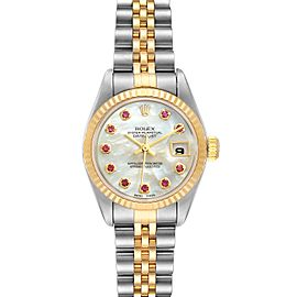 Rolex Datejust Steel Yellow Gold MOP Ruby Ladies Watch 79173