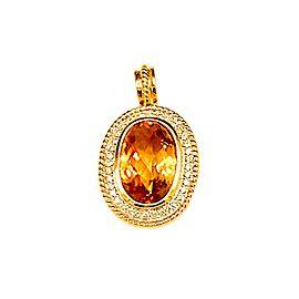 Estate 14kt Yellow Gold Oval Citrine and Diamond Pendant Enhancer