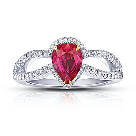 Platinum 1.42ct. Ruby 0.45ctw. Diamond Ring Size 7