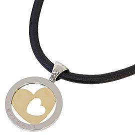 BULGARI BVLGARI 18K Yellow Gold Tondo Heart Leather Necklace Choker