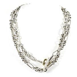 """David Yurman Sterling Silver 18K Yellow Gold 33"""" Figaro Chain Toggle Necklace with 18K Donut"""